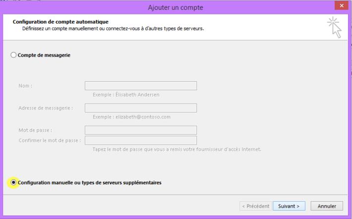 Configuration compte  de messagerie