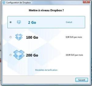 2ème étape installation Dropbox