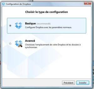 3ème étape installation Dropbox