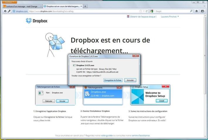 Télécharger fichier d'installation de Dropbox
