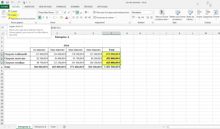 Lier des données de plusieurs feuilles vers une feuille unique dans Excel