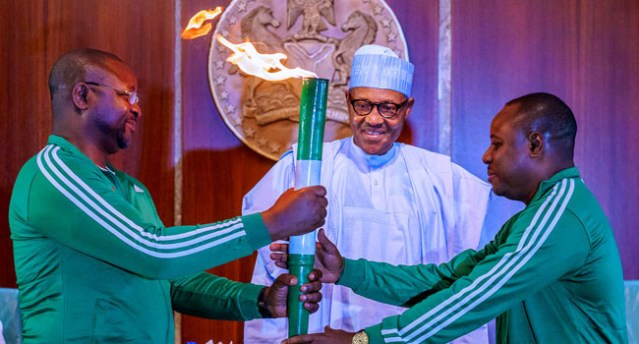 Image result for National Sports festival: Buhari receives Tourch of Unity""