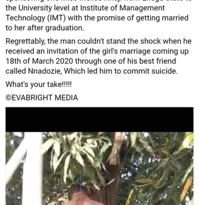 Man Commits Suicide By Hanging As Girlfriend He Trained In School Dumps Him (Photos) 3