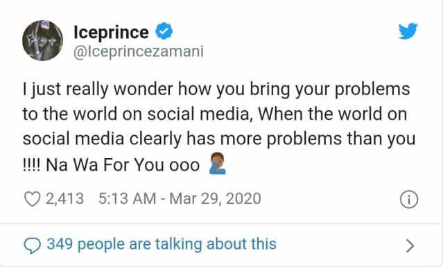 Ice Prince condemns people who share their problems on social media