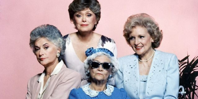 "From left: Bea Arthur as Dorothy Zbornak, Rue McClanahan as Blanche Devereaux, Betty White as Rose Nylund and Estelle Getty as Sophia Petrillo in Season 1 of ""The Golden Girls."""