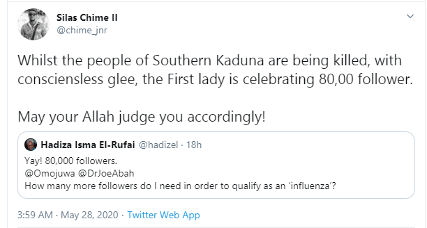 Kaduna First Lady called out for celebrating 80k followers on Twitter as #SouthernKaduna trends lindaikejisblog 12
