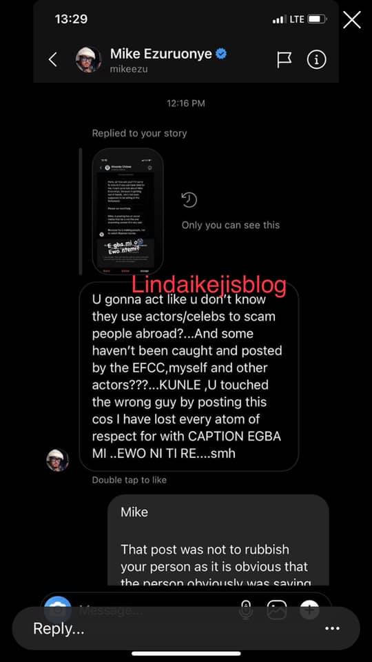 I shared the post on my timeline with the intention to jocularly send a message to purveyors of fake news - Kunle Afolayan replies Mike Ezuruonye lindaikejisblog 2