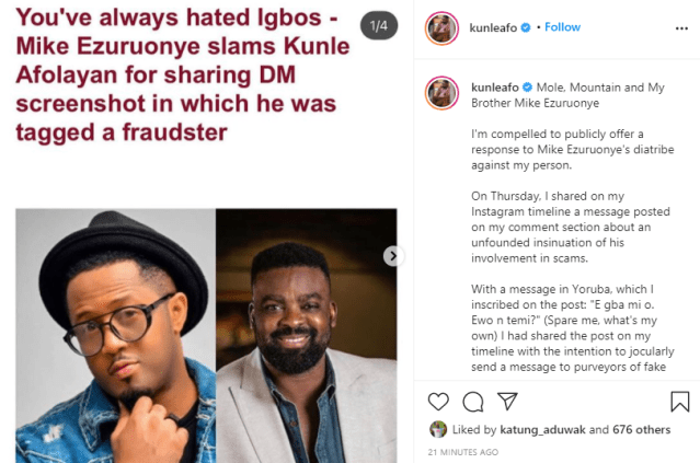 I shared the post on my timeline with the intention to jocularly send a message to purveyors of fake news - Kunle Afolayan replies Mike Ezuruonye lindaikejisblog 1