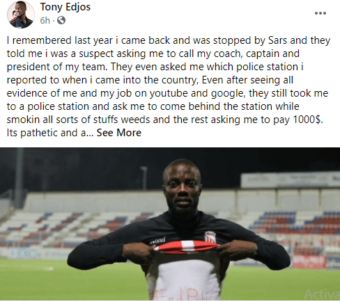 Nigerian footballer. Tony Edjomariegwe narrates how SARS officers allegedly demanded for $1,000 from him after saying 'he's a suspect' lindaikejisblog 1