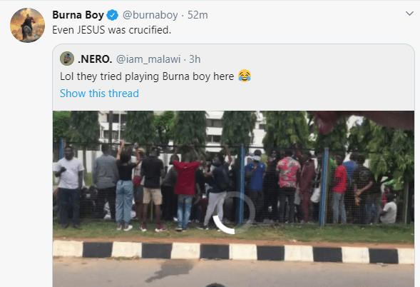 Even Jesus was crucified - Burna Boy reacts after his song was rejected by #EndSARS protesters lindaikejisblog 1