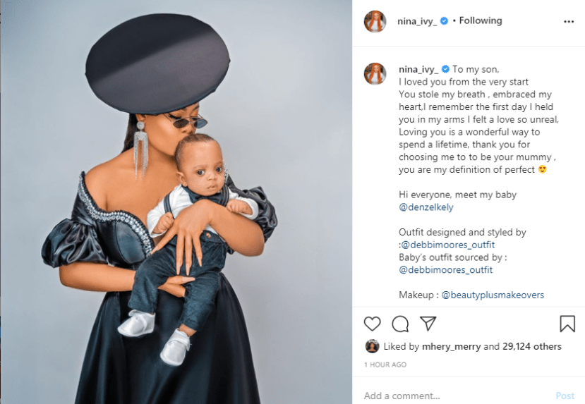 BBNaija's Nina shares photos of her son on his first birthday lindaikejisblog 1