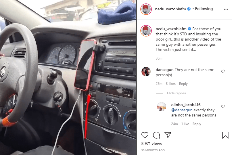 Media personality, Nedu shares another video of same IN driver masturbating in another trip with a different passenger lindaikejisblog 1