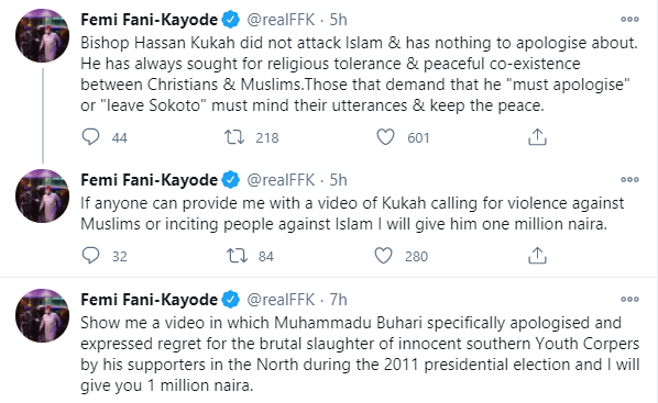 Bishop Kukah did not attack Islam, those that demand that he 'must apologise' or 'leave Sokoto' must mind their utterances - FFK 1
