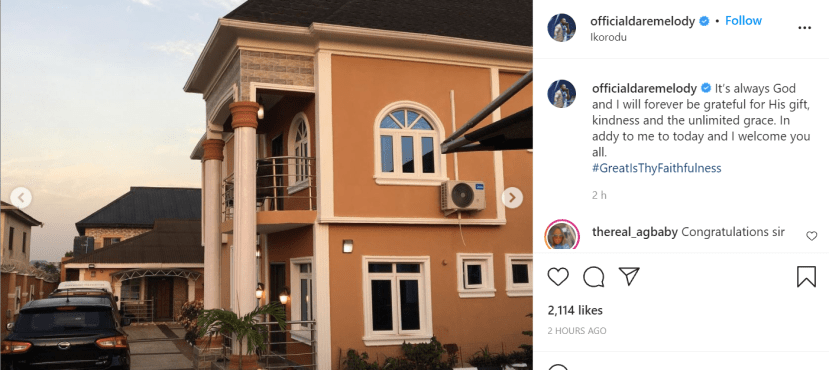 Gospel singer, Dare Melody gifts himself a house as celebrates his birthday 1