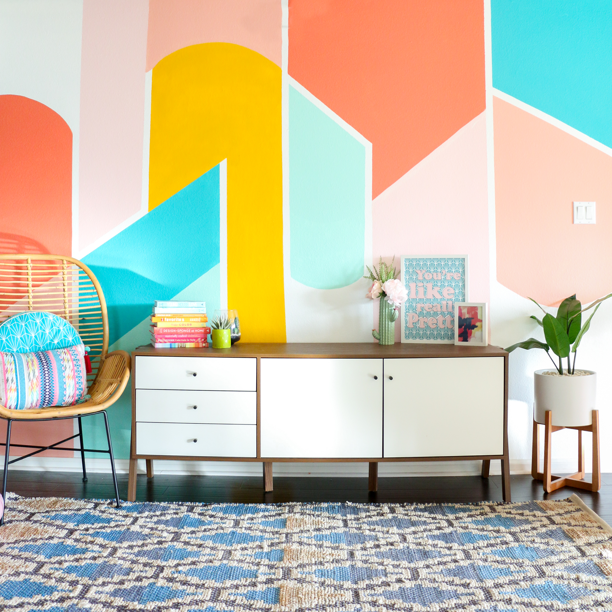 DIY Painted Geometric Wall - A Kailo Chic Life