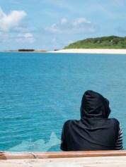 パナリ桟橋に停めた船から上地島を見る