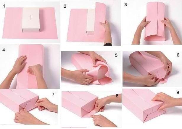 วิธีการบรรจุกล่องสี่เหลี่ยมในกระดาษของขวัญ