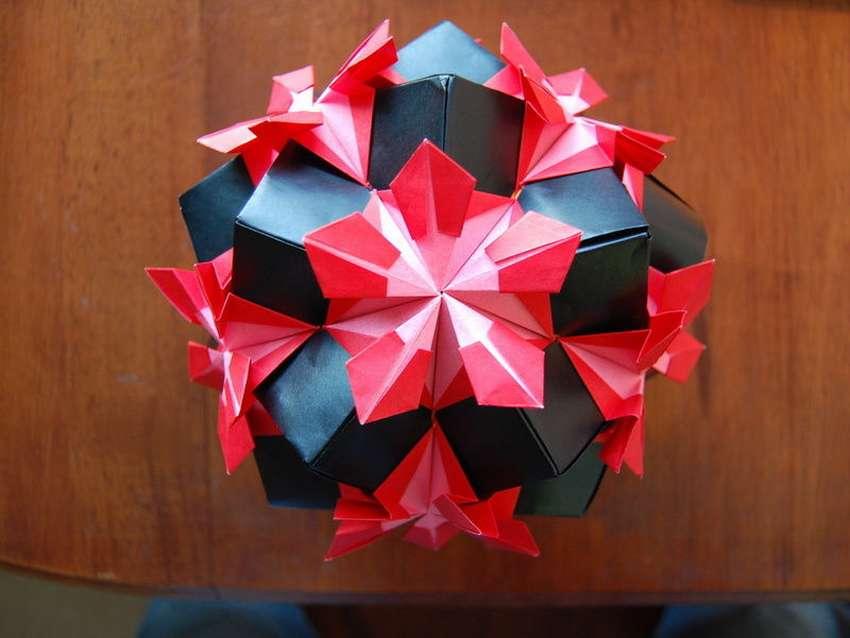 шар оригами кусудаме