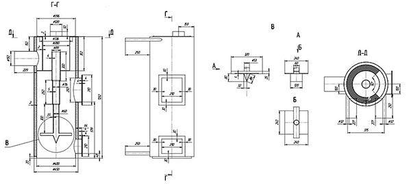 Dibujo de caldera de combustible sólido casero.