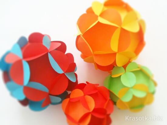 Сделать шар из цветов из бумаги