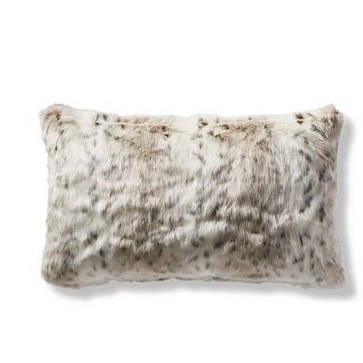 luxury faux fur lumbar pillow cover in lynx