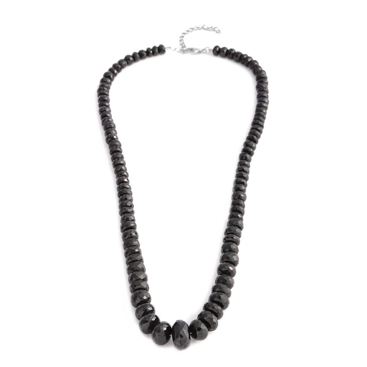 925 Sterling Silver Round Beads Mix Black Spinel Necklace