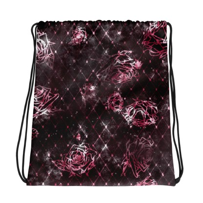 Diamond Rose Drawstring Bag - Maroon Silver