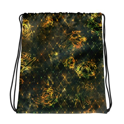 Diamond Rose Drawstring Bag - Turquoise Gold