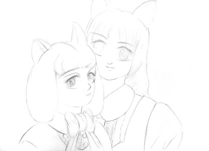 Cat Sisters Pencil Drawing 1