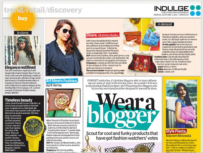 Media Feature | Indulge Chennai Newspaper | www.akanksharedhu.com | Main