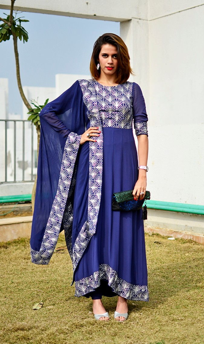Indianwear | Blue & Silver Anarkali | Akanksha Redhu | full front  closer