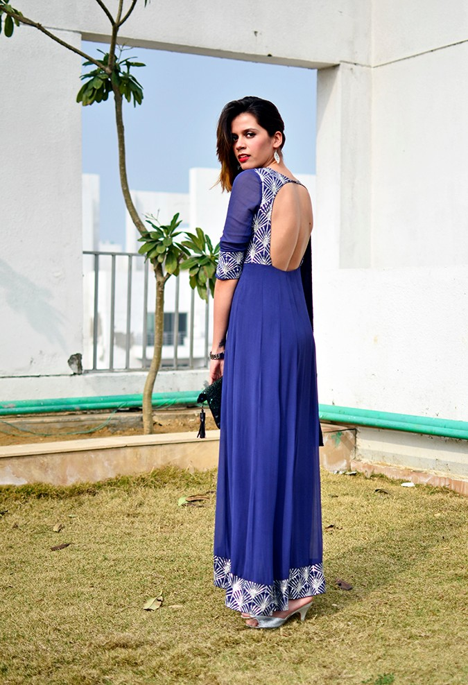 Indianwear | Blue & Silver Anarkali | Akanksha Redhu | full three fourth back