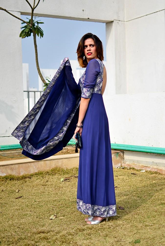 Indianwear | Blue & Silver Anarkali | Akanksha Redhu | side full dupatta flying