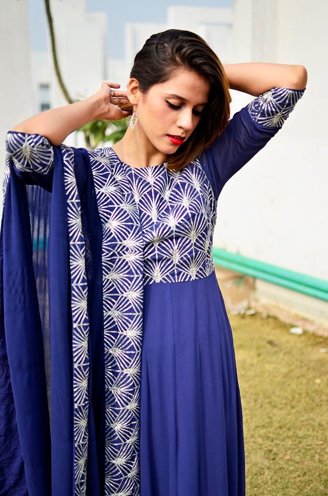 Indianwear | Blue & Silver Anarkali | Akanksha Redhu | front half tying hair