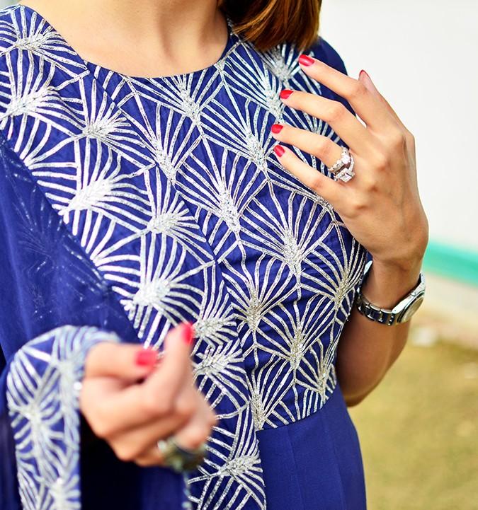 Indianwear | Blue & Silver Anarkali | Akanksha Redhu | work details