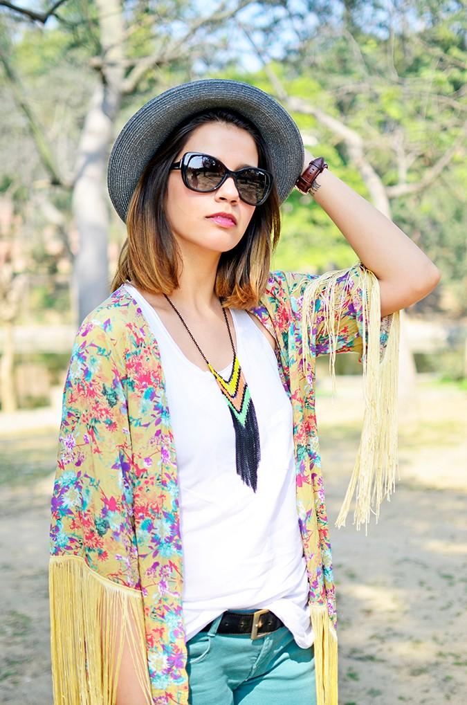 Hippie Kimono | Akanksha Redhu | half front hand on hat