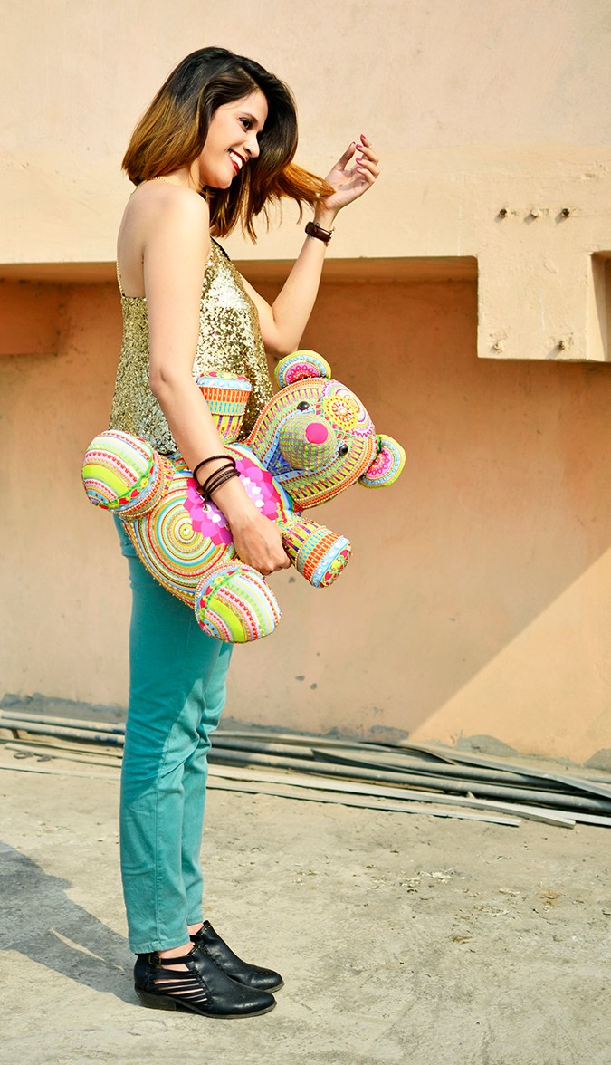Manish Arora Teddy Bear | ExclusivelyIn | Akanksha Redhu | full side sequin