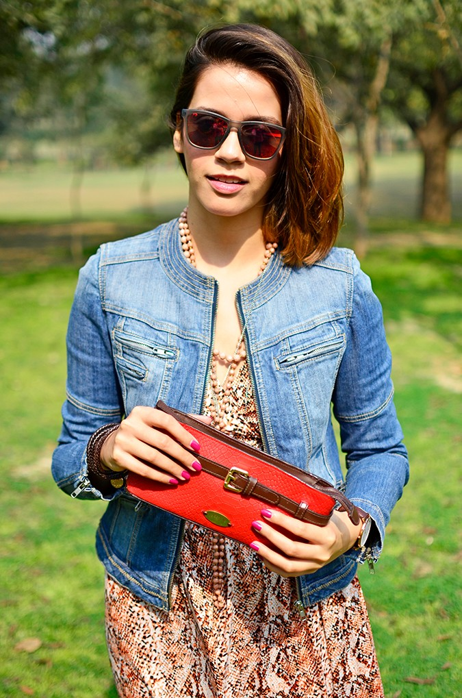 Denim + Animal Print | Akanksha Redhu | half front jacket wallet in front