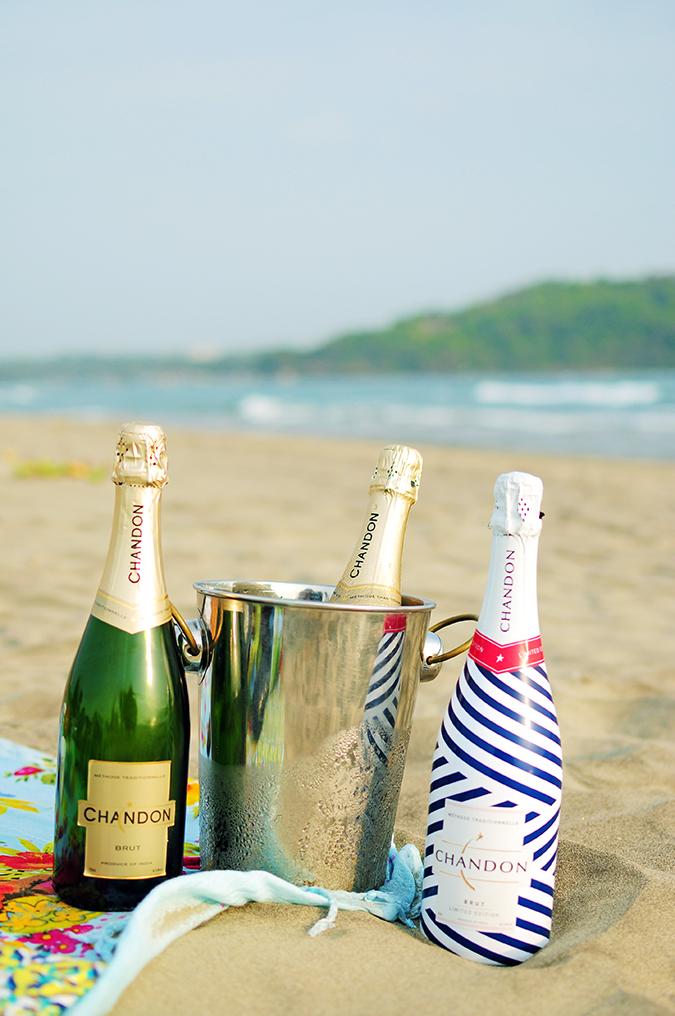 Beach Days   Goa   Akanksha Redhu   Chandon all 3 bottles on sand