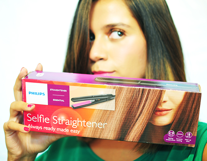 Philips - Selfie Straightener | Akanksha Redhu | carton in front of face