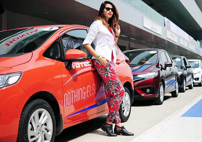 #AllNewJazz | Honda | Akanksha Redhu | leaning against car wide