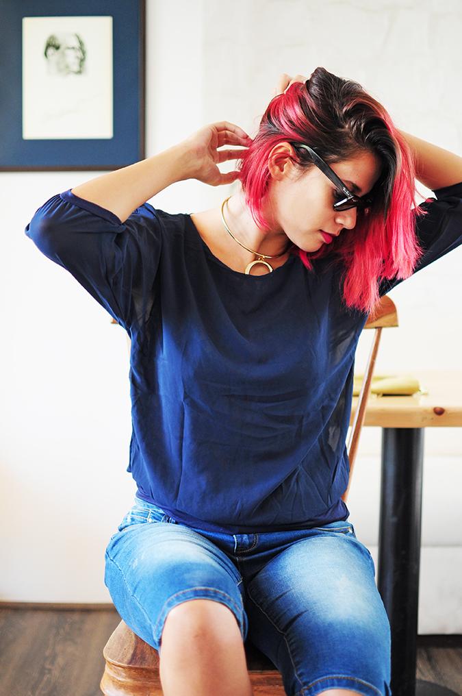 Brunch in Blue | Akanksha Redhu | sitting looking sideways