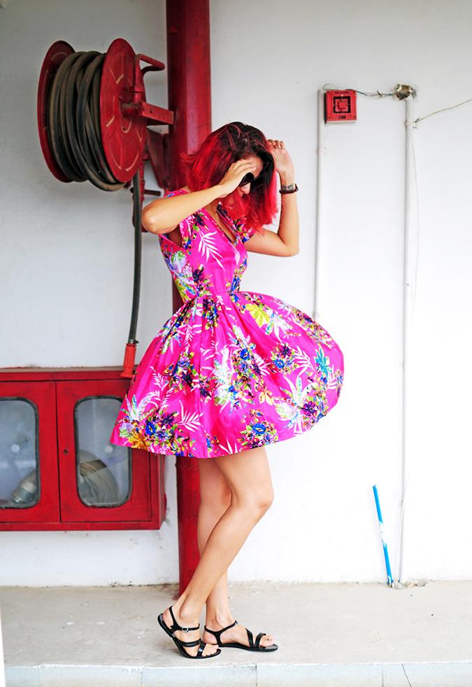 Pink Bloom | #ootd | Akanksha Redhu | full side dress flying
