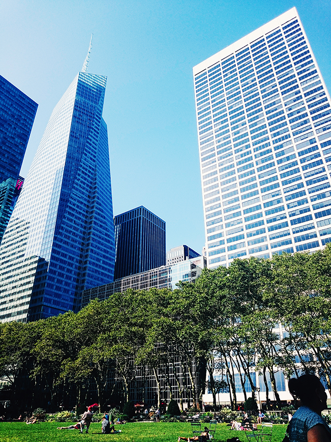 New York City | #RedhuxNYC | tall buildings from bryant park