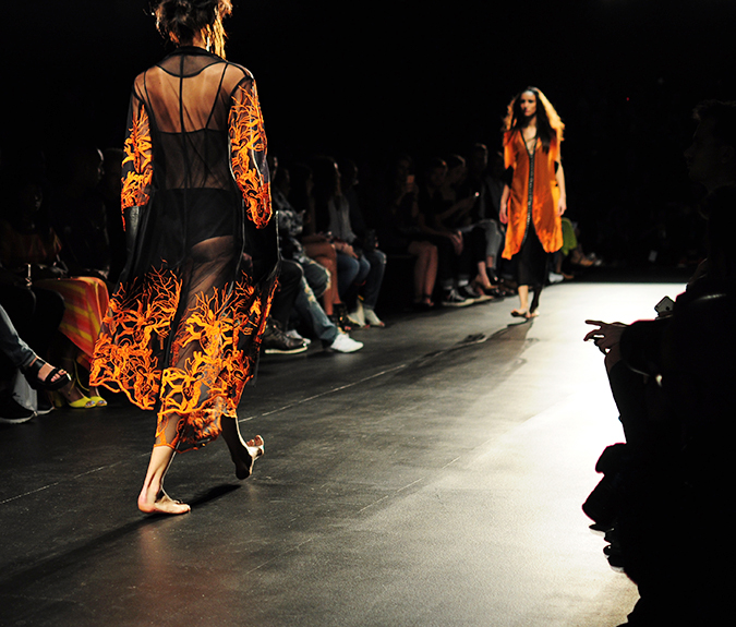 Francesca Liberatore | NYFW | #RedhuxNYC | orange lace on black two