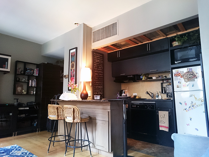 Airbnb | New York City | #RedhuxNYC | kitchen counter from couch