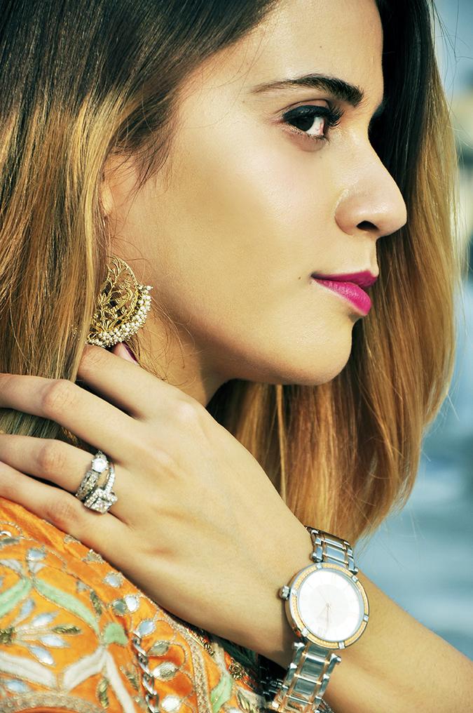 Anita Dongre | Akanksha Redhu | #ootd | face side earrings