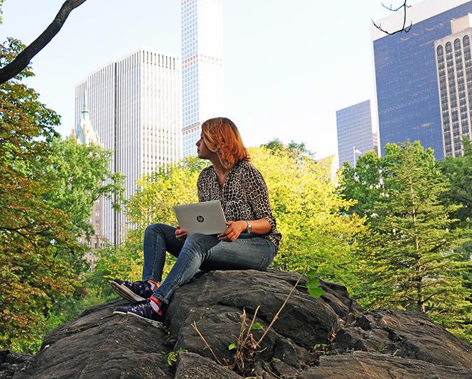 New York City | HP | Akanksha Redhu | HPx2 | sitting on rock looking away