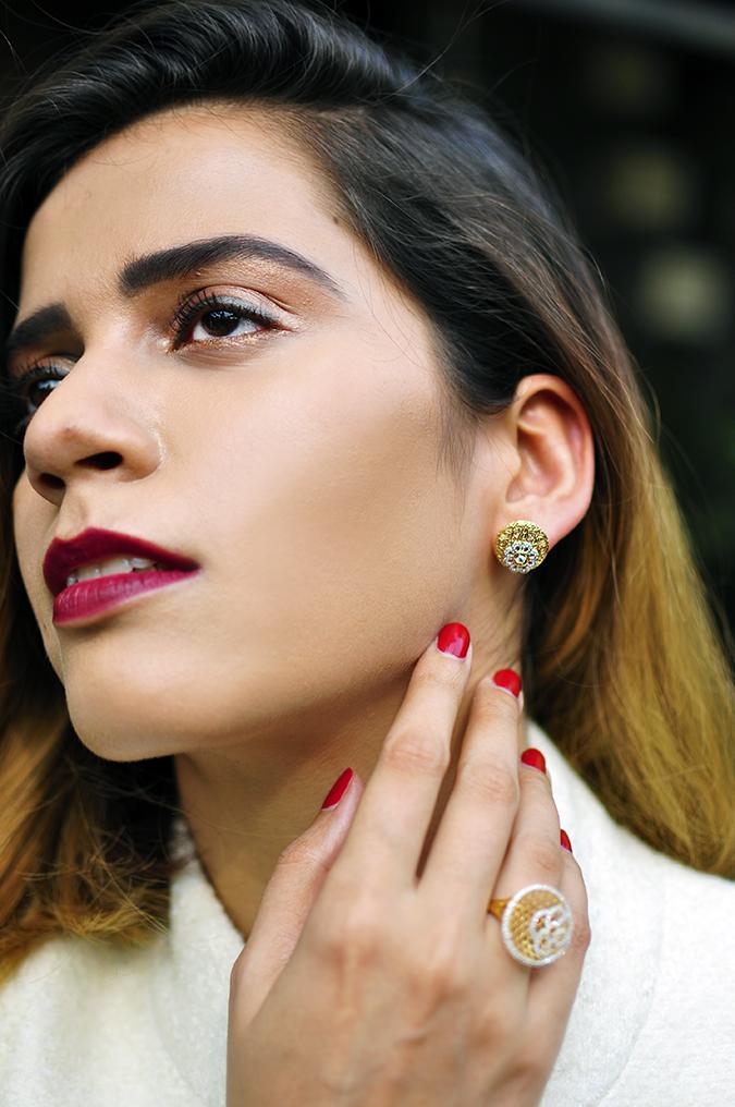 BeeJewelled - CaratLane | Akanksha Redhu | retro face earrings