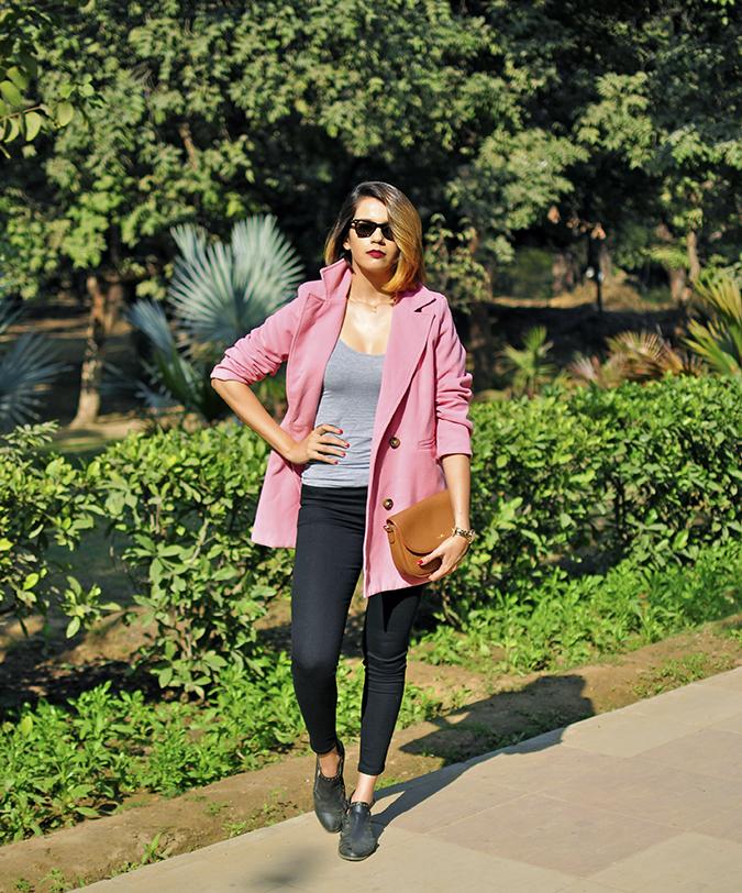 Fresh Pink | #ootd | Akanksha Redhu | full front arm on waist tee